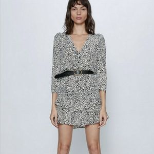 Zara animal print Ruffled dress